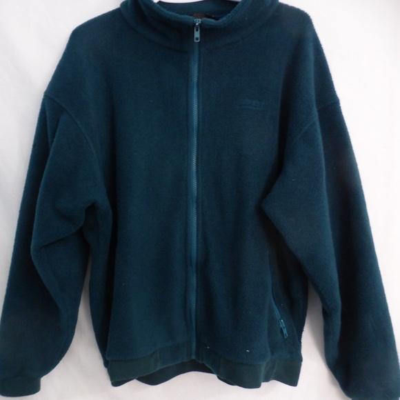 Land's End zip green fleece jacket women 14-16